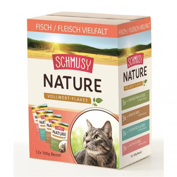 Schmusy Nature Vollwert-Flakes Multibox Fisch/Fleisch 12x100g